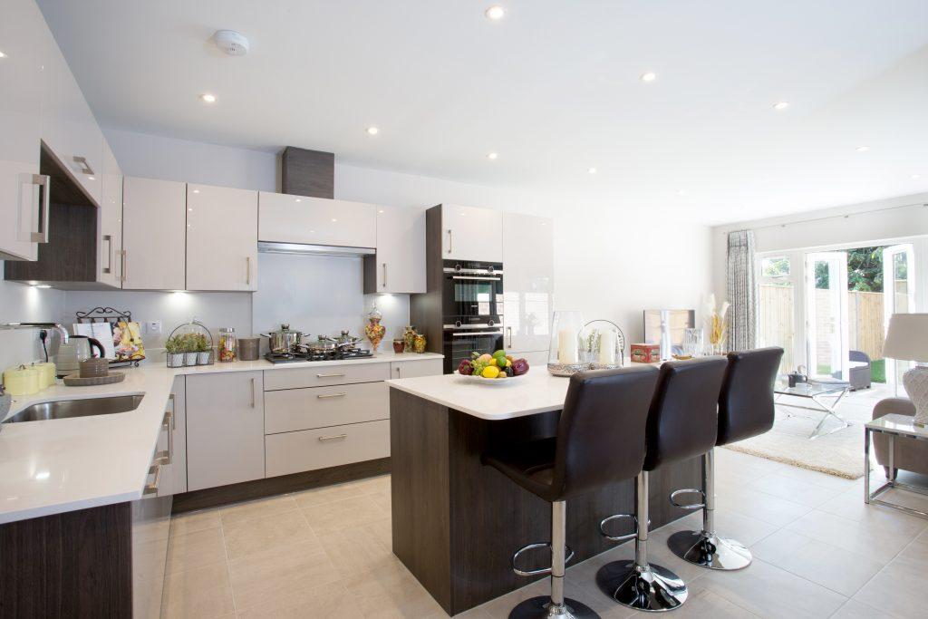Kitchen diner at East Moseley Pavilion Park development for Langham Homes