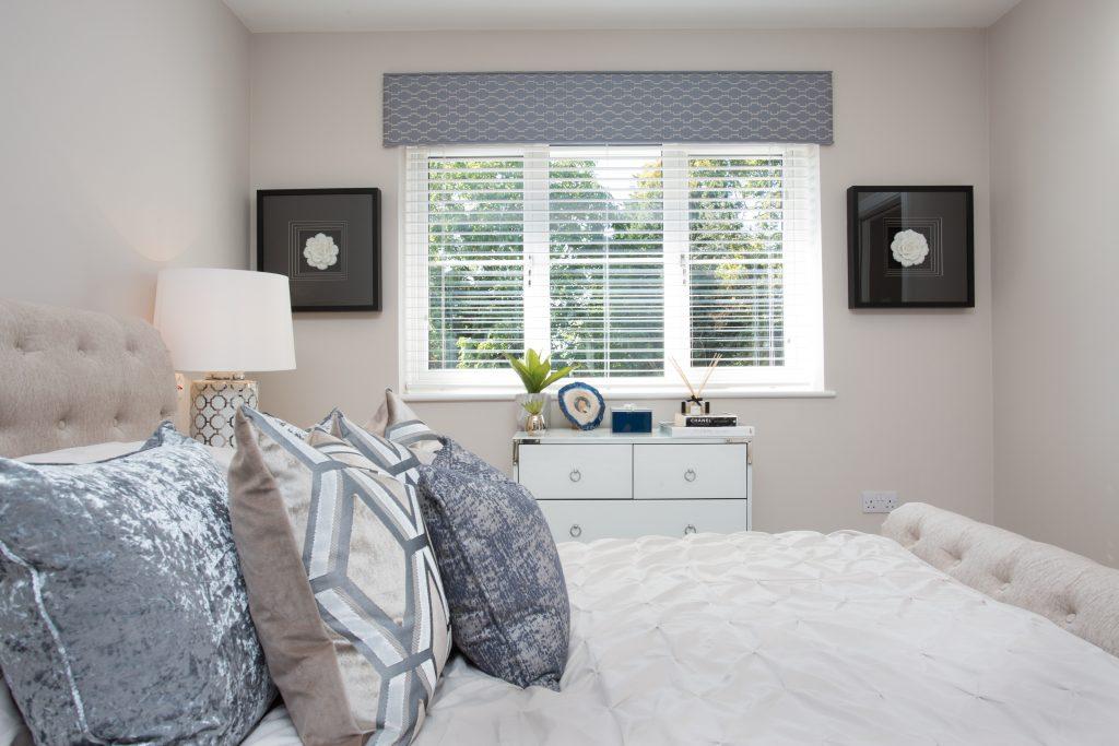 Bedroom at East Moseley Pavilion Park development for Langham Homes