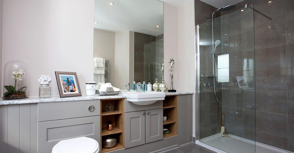 Bathroom at East Moseley Pavilion Park development for Langham Homes