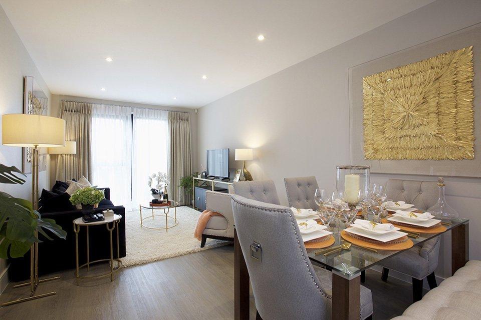 Living room at The Exchange, Langham Homes, New Malden development