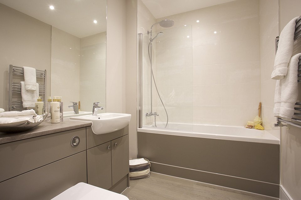 Bathroom at The Exchange, Langham Homes, New Malden development